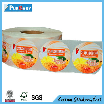 Ice Cream Food Sticker Full Color Printed Freezer Label