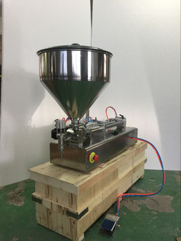 Compact semi-auto piston paste filling machine without electricity (quality pneumatic cream filling machine, sauce filler)