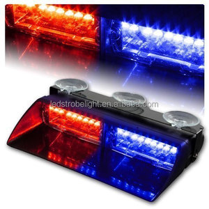 "9"" 16 LED Dash Lights Waterproof Police Lights LED Roof Dash Windshield Light Bar for Car - Red Blue"