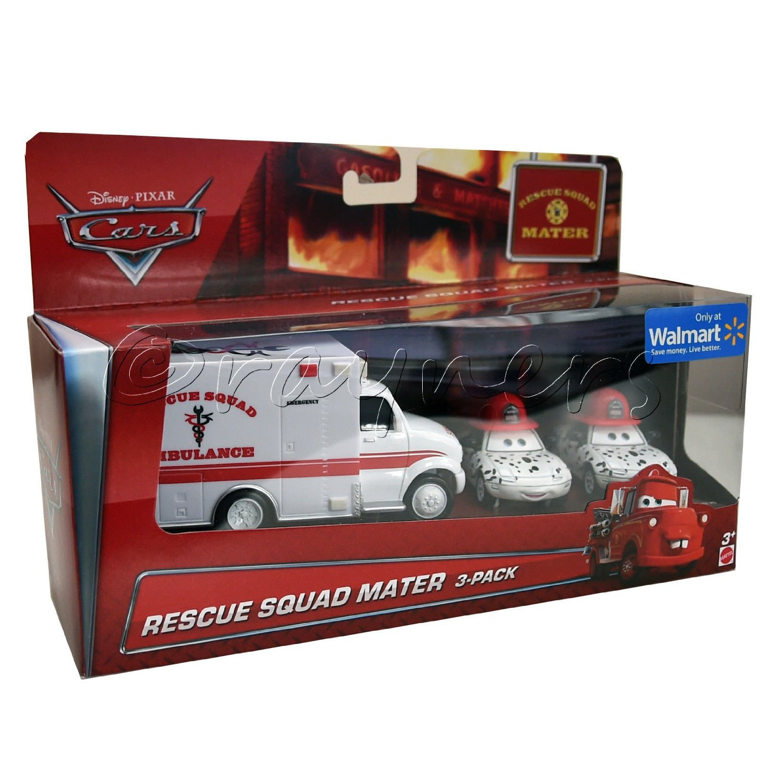 Disney/Pixar Cars, Toon Exclusive Die-Cast Vehicles, Rescue Squad Mater 3-Pack [Rescue Squad Ambulance, Dalmation Mia, and Dalmation Tia], 1:55 Scale