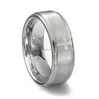 White Tungsten Carbide Ring Christian Jewelry Polished Shiny Cross Prayer Band TGTU170
