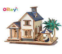 Oray DIY Educational Wooden Toy Puzzle 3D Wooden House Puzzle Kids Wooden Jigsaw Puzzle