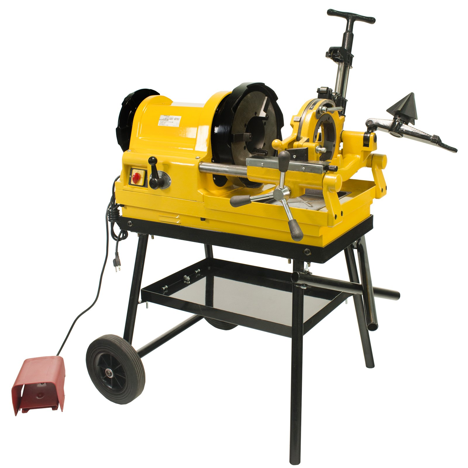 "Steel Dragon Tools 6790 Power Pipe Threader Threading Machine 1/2"" - 4"" Capacity with Foot Switch, Self-Oiling Die Head, and Cart"