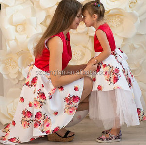 Red Floral Print Mother And Daughter Family Look Maxi Size Baby Tutu Dress Long Dress