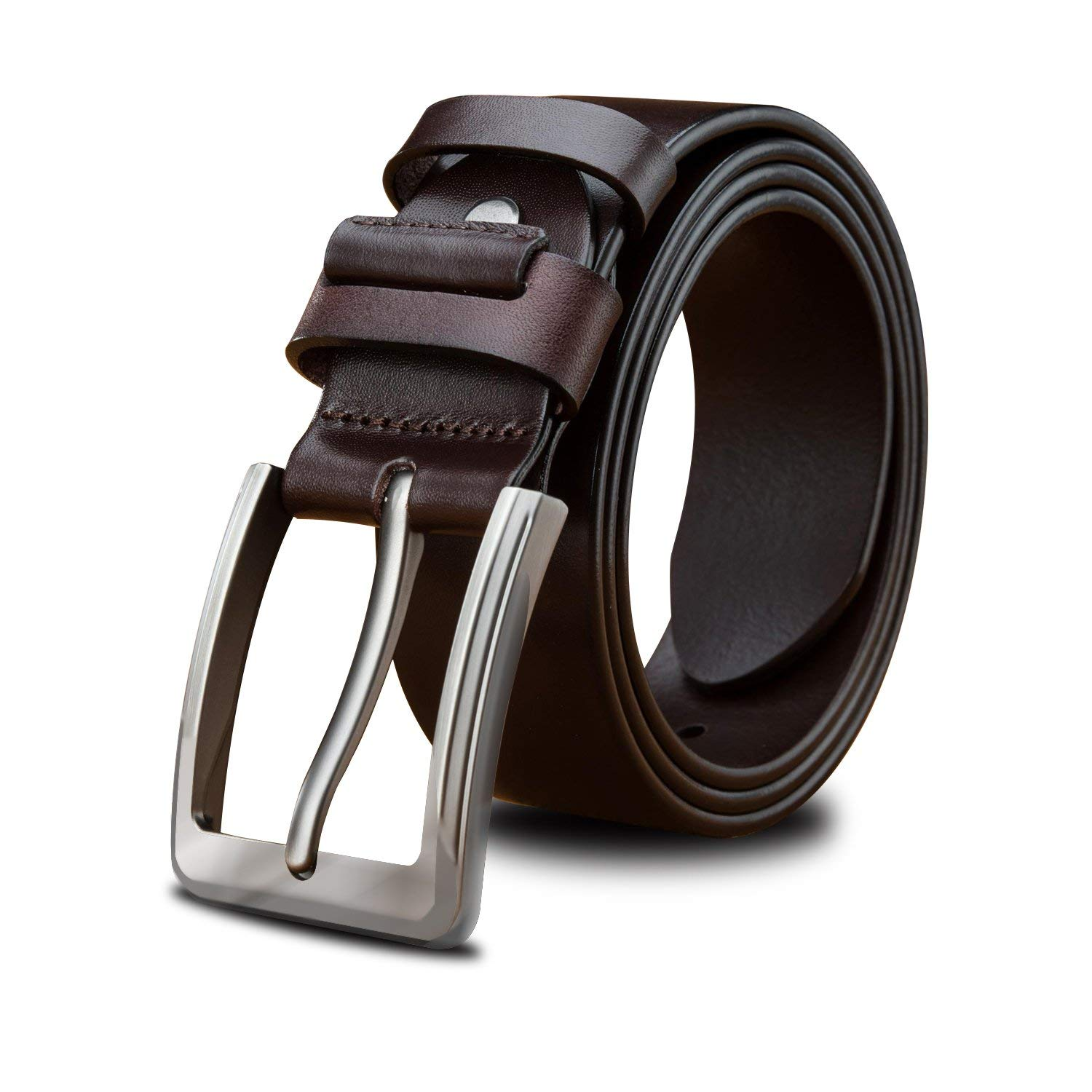 LUCIANO Black Brown Italy Cowhide Genuine Leather Automatic Buckle Dress Belt for Man