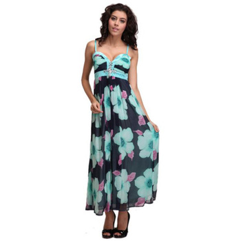 2a9b5346f6d 70s Floral Dress Chiffon Beach Maxi dresses with Padded Cups(can make Plus  size)