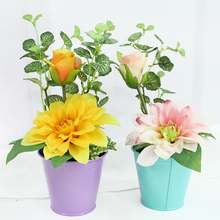 mini hanging new flower arragnement pots plastic artificial moss blooming bonsai anthurium latex foliage decor china
