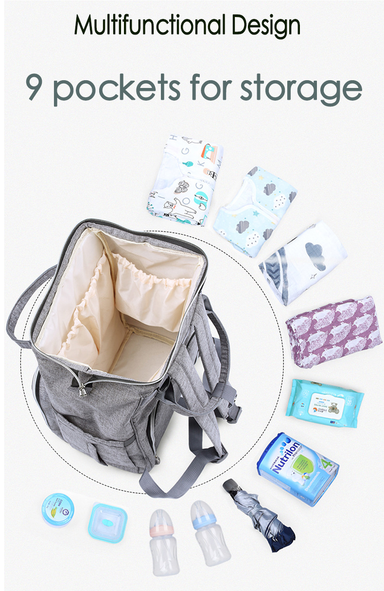 2019 Fashion Multifunctional Baby Mummy Diaper Bag For Outdoor Travel
