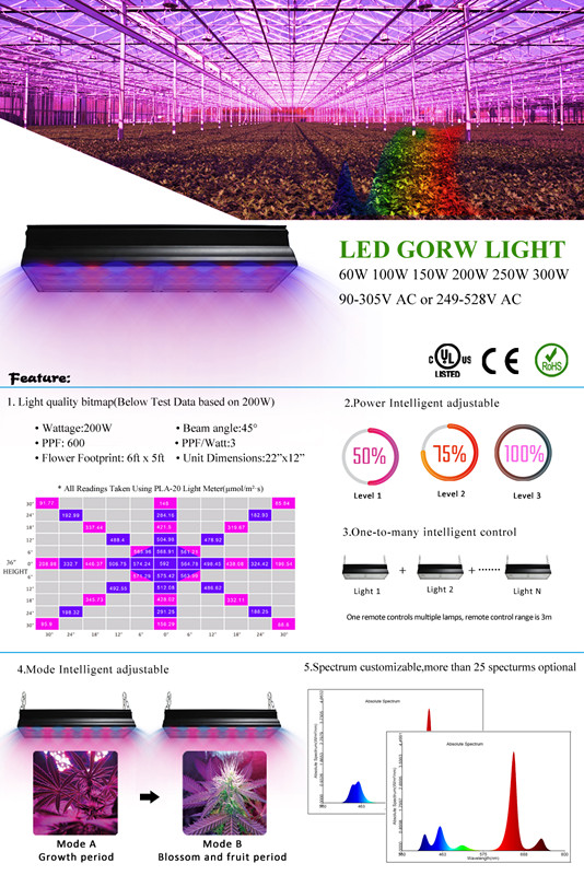 Factory wholesale full spectrum 200w led grow light