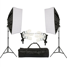 Photographic equipment studio continuous light softbox with four head lamp holder