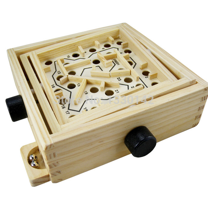 Balance Board Maze Game: Classic Wooden Labyrinth Tilting Maze Board Game W/Balls