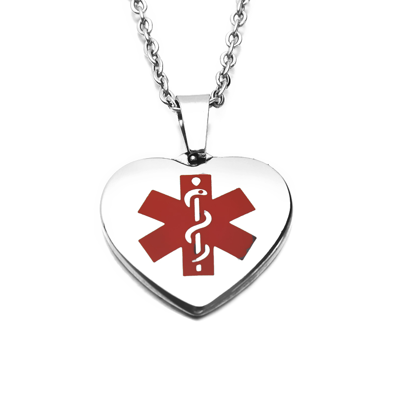 Stainless Steel Fashion Pendant Necklace Enameled Medical Sign Blank Dog tag Men's Heart Shield Pendant