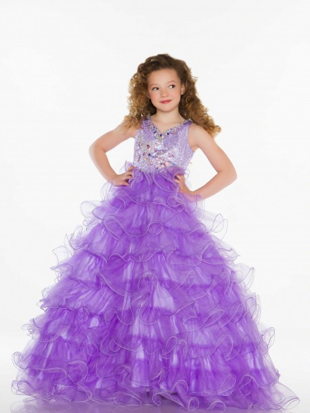5bf4fa485d9 Get Quotations · Custom Size Long Puffy Kids Dress Purple Ball Gown V-neck  Ruffle Skirt Beaded Little