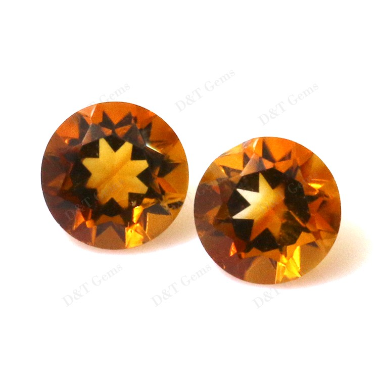 4.25 mm redondo Natural de Madeira Amarillo Citrina Gemas Piedras Preciosas