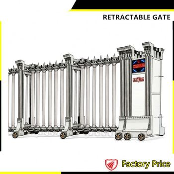 Great Retractable Driveway Iron Fancy Boundary Wall Electric Gate Residential  Design
