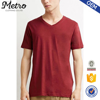 Dongguan Factory Classic Style Basic Plain Red Mens V-Neck T shirts