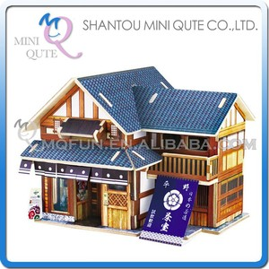 Mini Qute 3D Wooden Puzzle Japanese Teahouse architecture famous building Adult kids model educational toy gift NO.F120