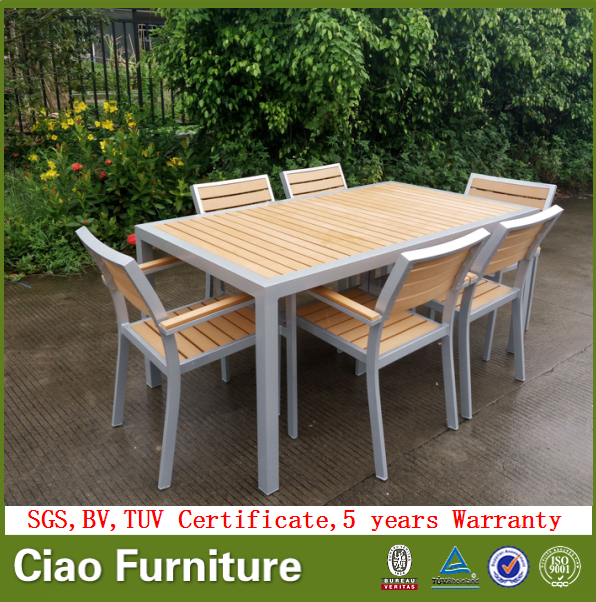 Garden plastic wooden furniture modern dining table chairs set