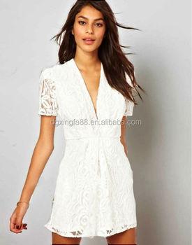 914f4d6a3500 ultimo vestito elegante modello scollo a v manica corta uncinetto un pezzo pizzo  bianco abito corto
