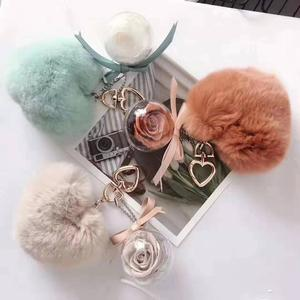 Imports mink fur accessories Gift Set Key ChainsRose Preserved Flowers in glass