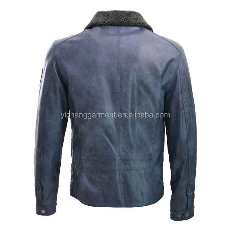 mens PU leather jacket with faux-shearling collar