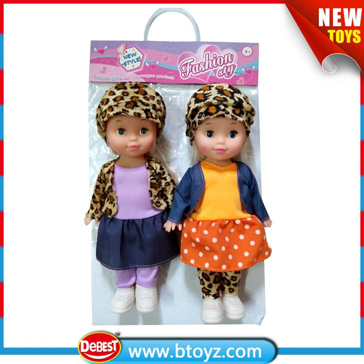 "Kids Toys 11"" Twins Baby Doll with Leopard Pattern Dress"