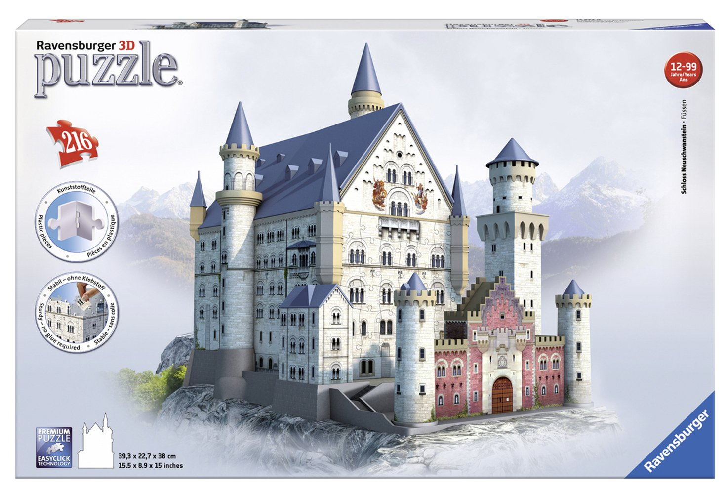 dce27c9e564 Get Quotations · Ravensburger Neuschwanstein 216 Piece 3D Jigsaw Puzzle for  Kids and Adults - Easy Click Technology Means