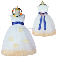 Kids Tulle Flower Wedding Junior Bridesmaid Dress With Sashes Bow
