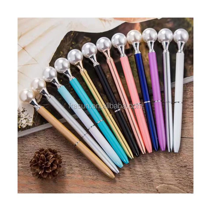 2017 New design pearl diamond on the top ball writing pen