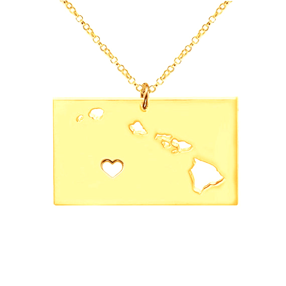 SJUSASN013 New Vogue USA Hawaii State Map Necklace18K Gold Plated 316 Stainless Steel Hollow Pendant Necklace as Gift