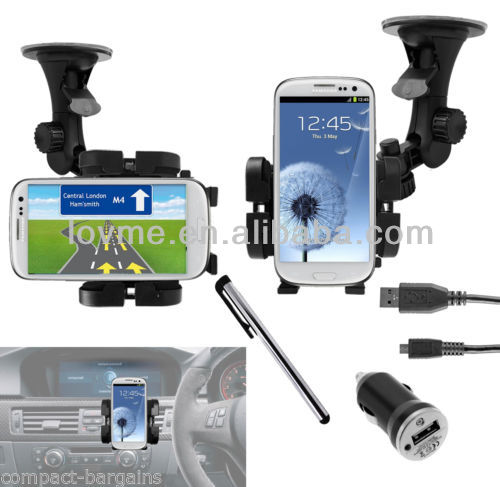 WINDSCREEN HOLDER+AIR VENT MOUNT CRADLE & IN CAR CHARGER FOR SAMSUNG GALAXY S3
