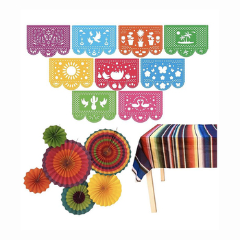 Mexican Fiesta Party Supplies Set Mexican Table Runner Mexican Banner Colorful Paper Fans Cotton Fringe Table Runners
