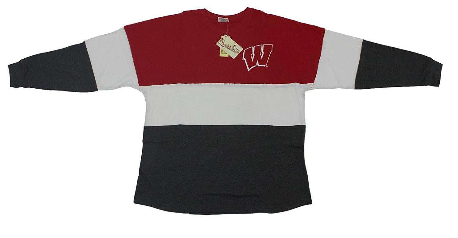 Get Quotations · Royce Apparel Pressbox Women  s NCAA Wisconsin Badgers  Varsity Jersey Oversized Sweeper Shirt 058e59ddd