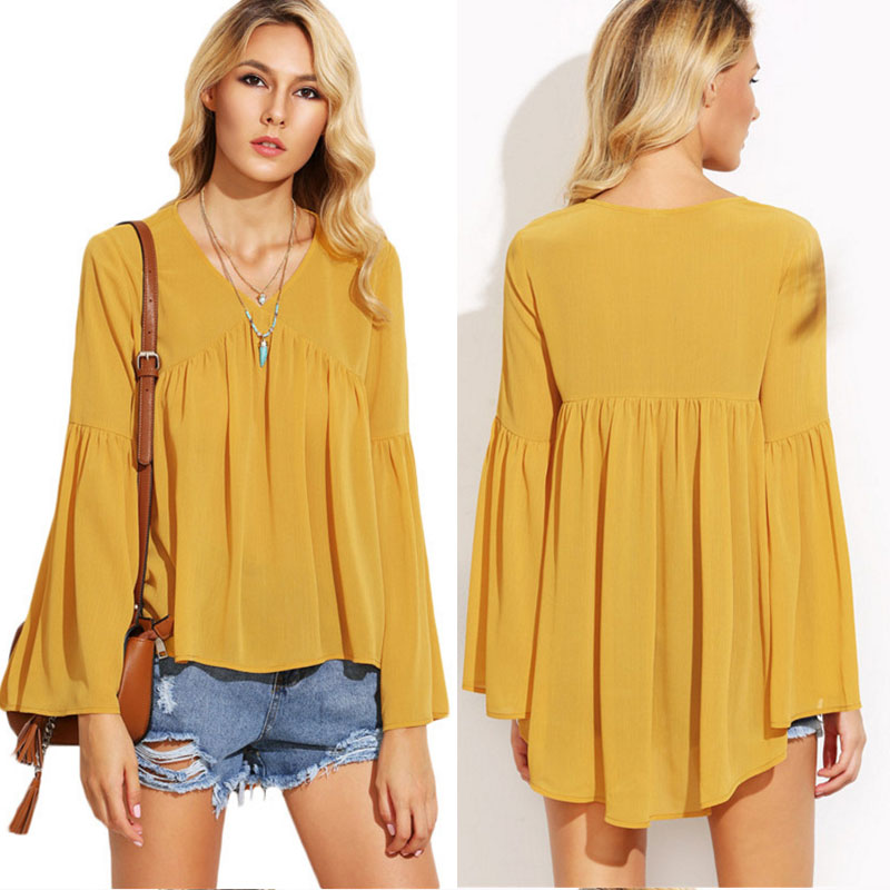 Yellow bat wing sleeves thailand wholesale clothing women chiffon blouse