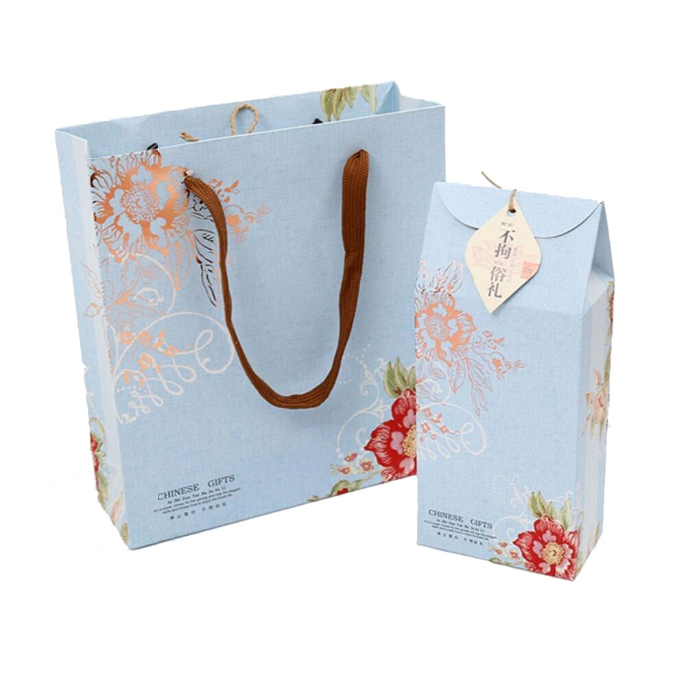 colorful printed C2S paper twisted handle shopping paper bag