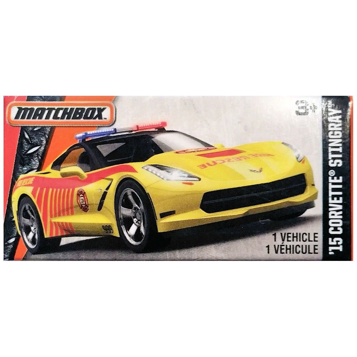 Matchbox Power Grabs 2015 Chevrolet Corvette Stingray Fire Rescue in Yellow