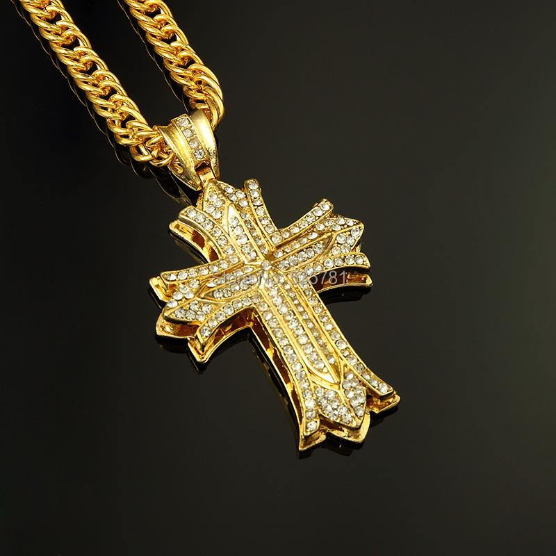1pcs-Rock-Dance-Cross-Pendant-long-Necklace-24K-thick-gold ...