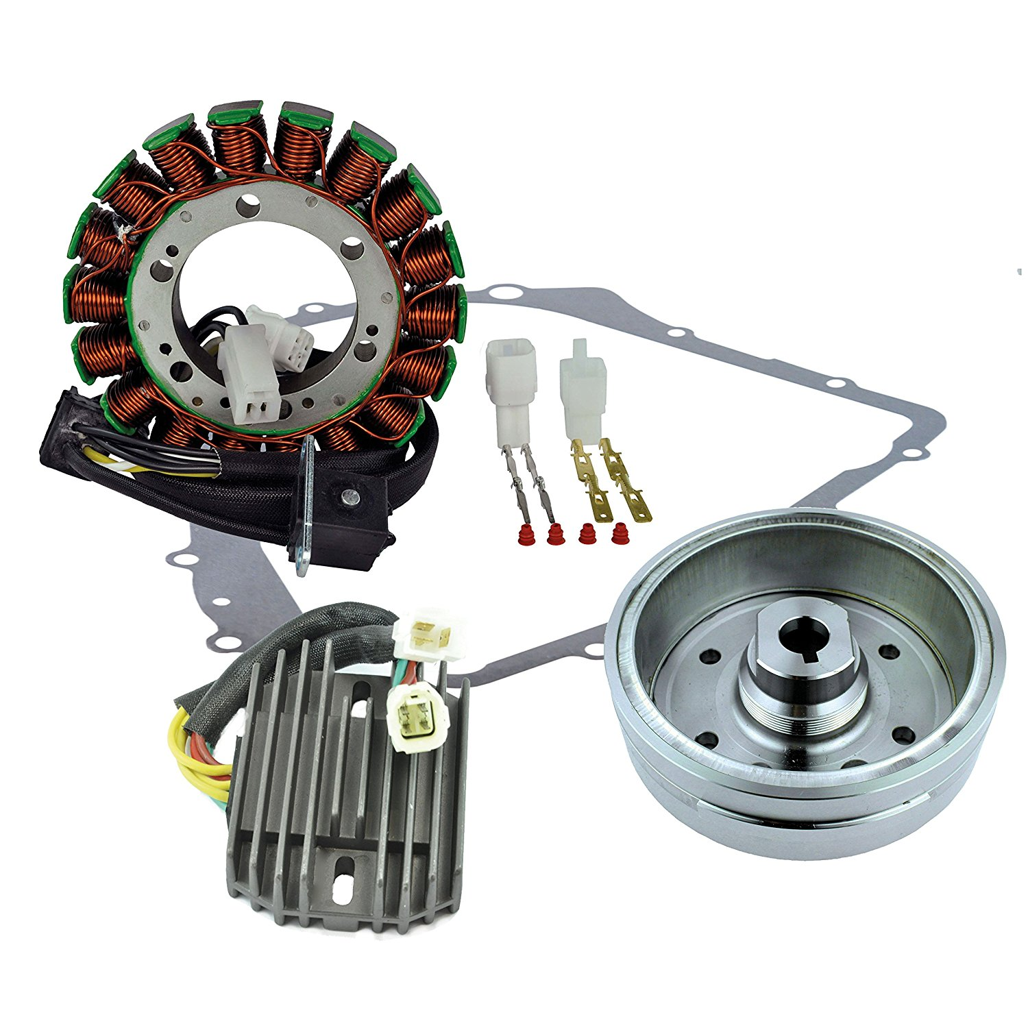 Kit Improved Flywheel + Stator + Crankcase Cover Gasket + Voltage Regulator Rectifier For Arctic Cat 400 Auto 2003-2008 OEM Repl.# 3430-054 3430-071 0802-037 3430-053 3402-590 3402-682 3530-028
