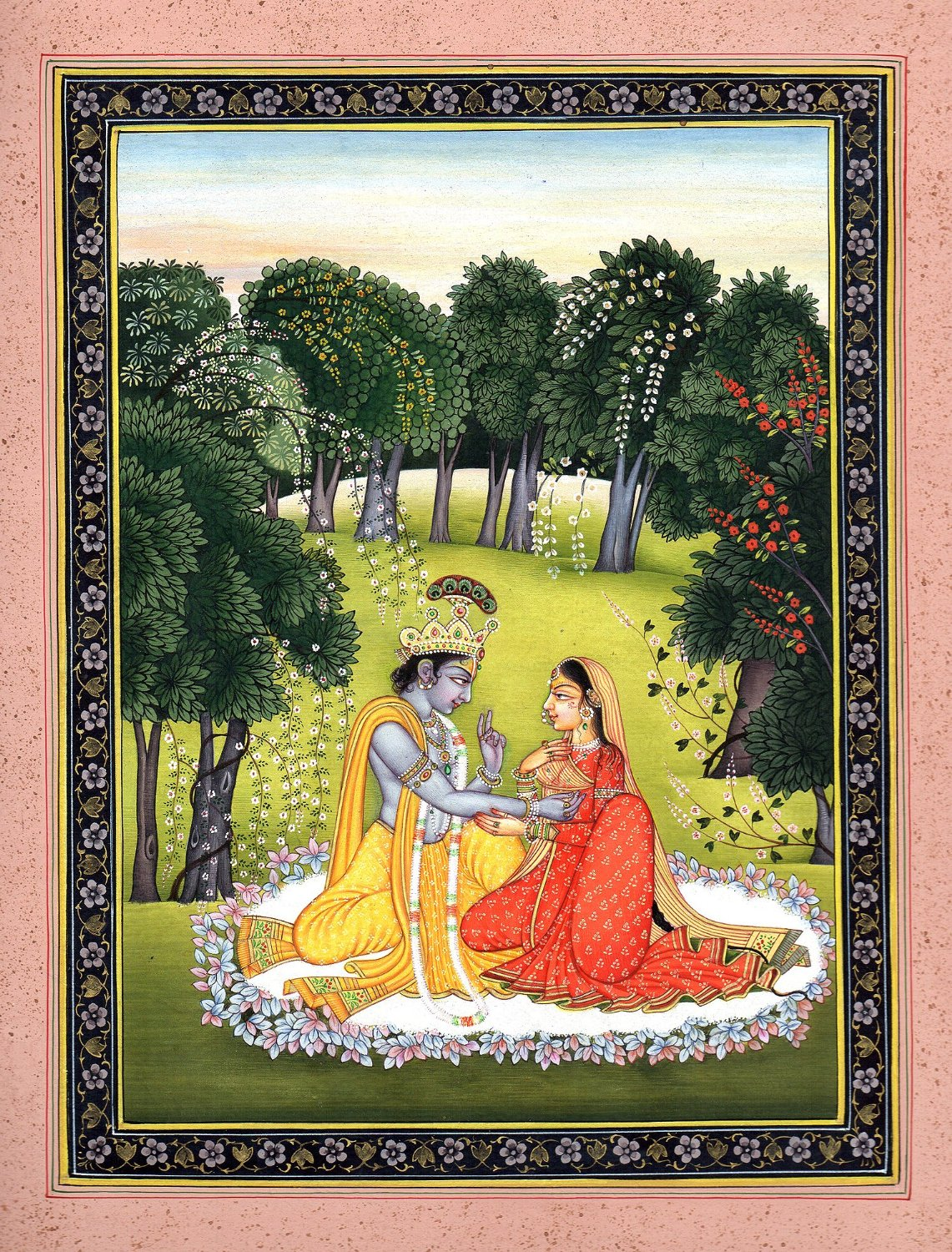 Krishna Appeasing Radha for Not Coming on Time - Water Color Painting on Paper - Artist:Kailash Raj