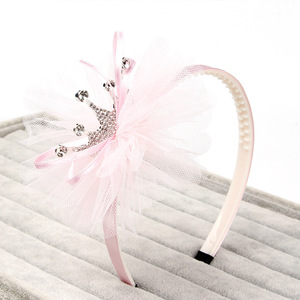 Korean style the most popular five-color children's fine alloy crown yarn material headband girl hair accessories headband