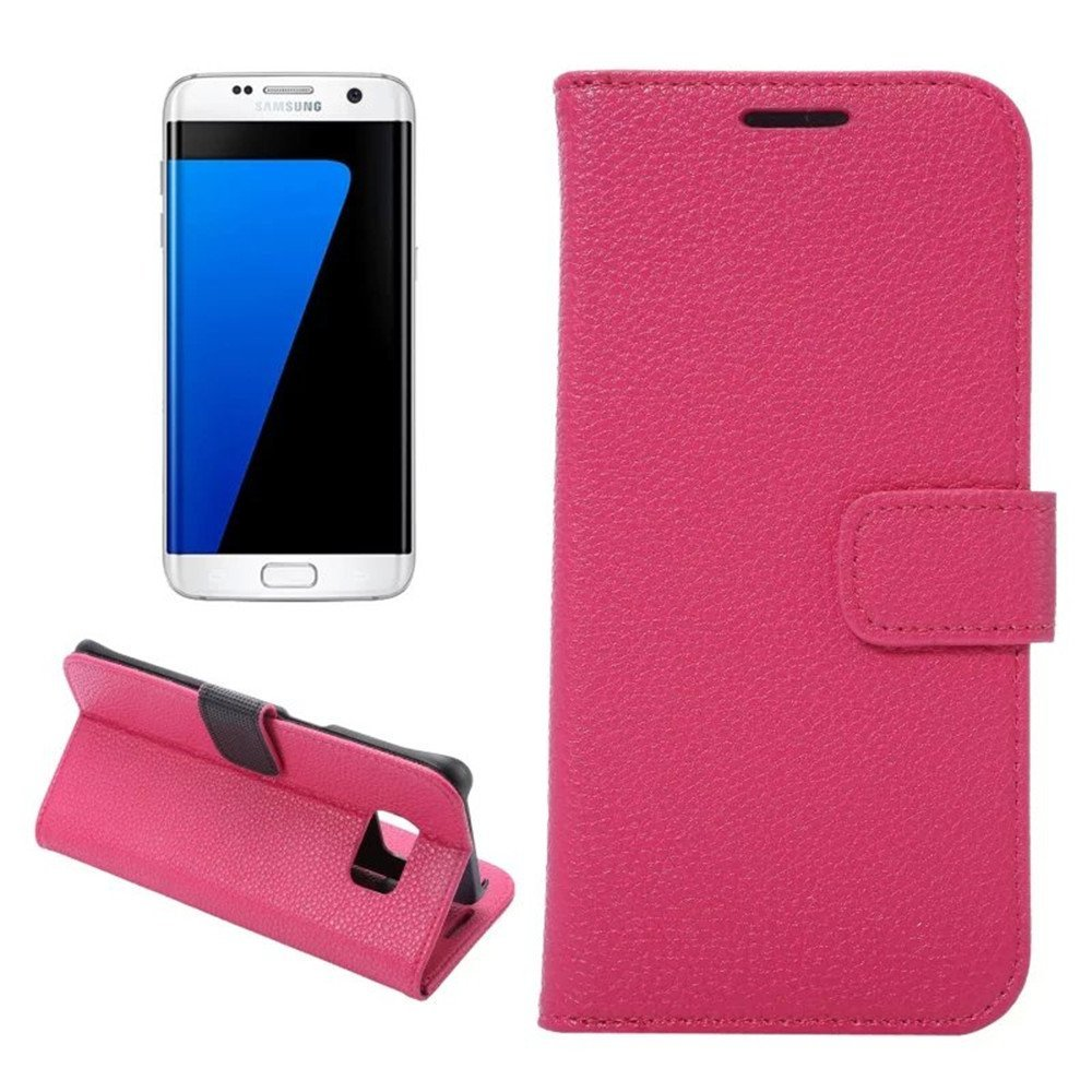Galaxy S7 Edge Case,IVY [Litchi Stria][Hot Pink] - [Card Slot][Flip Kickstand][Slim Fit][PU Leather][Wallet] - Case For Samsung S7 Edge SM-G935 Devices