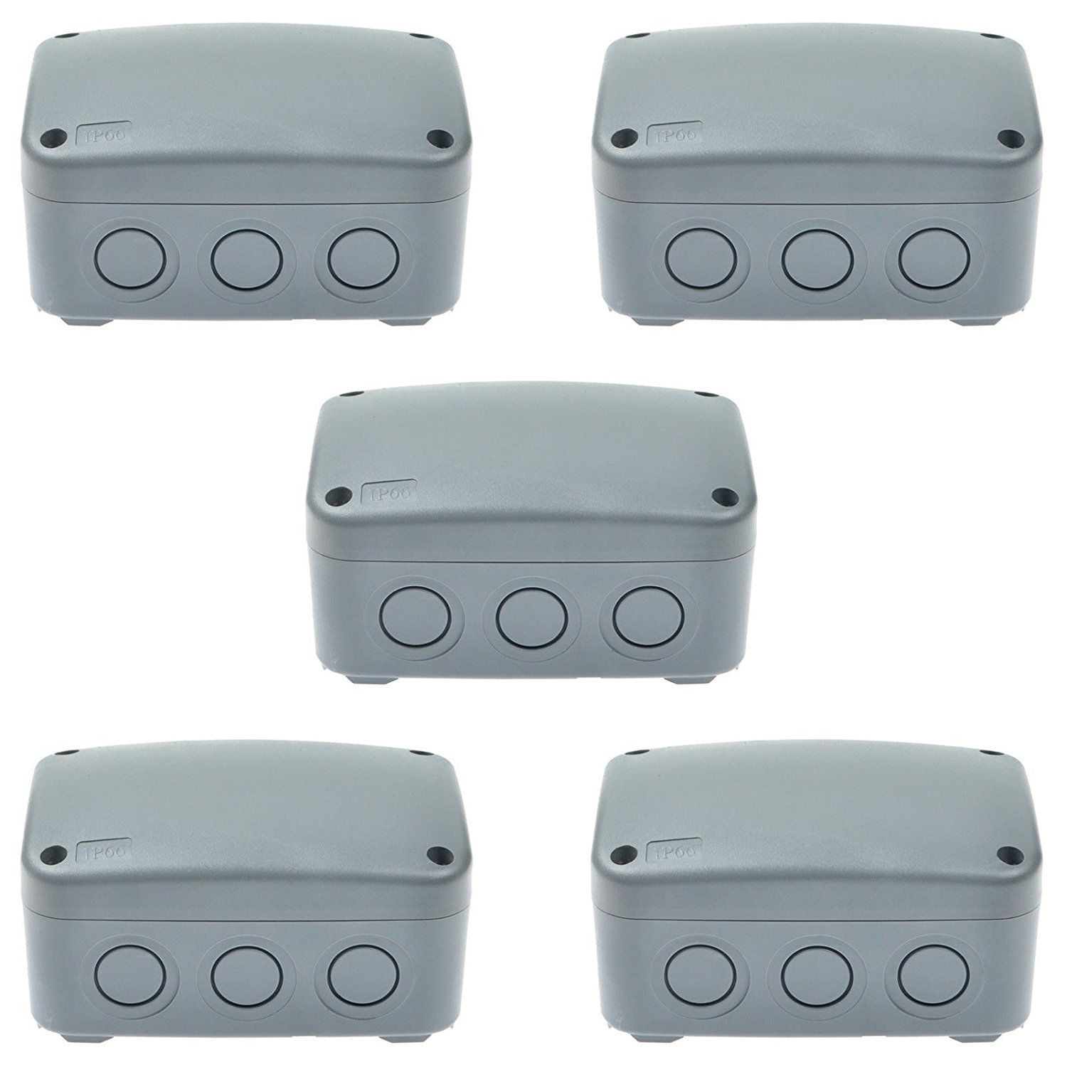 GREENCYCLE 5 Pack IP66 Rated Plastic Weatherproof Junction Box Fit for Outdoor Use, 1258662mm