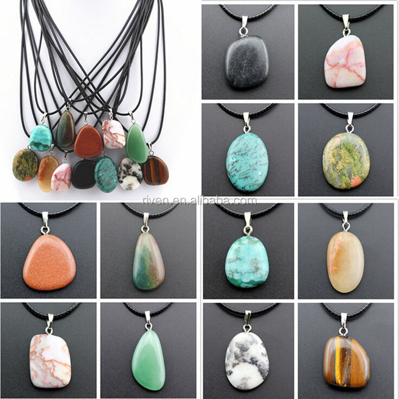 ST0180 irregularity Natural Stone Unakite Tiger Eye Turquoise Jade Stone Pendant Necklace for women