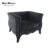 black elegant fabric upholstered chaise lounge chair