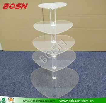 Assembled Heart Shape Transparent Acrylic Cupcake display stand Wholesale
