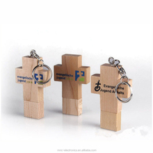 ECO friendly raw wood material custom logo printing and laser engraving christian cross shape wooden usb flash drive
