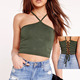 Back ties styles Halter neck cotton crop top for women
