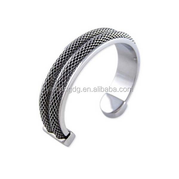 316l Stainless Steel Men Silver Bangle With Mesh Chain Inlay