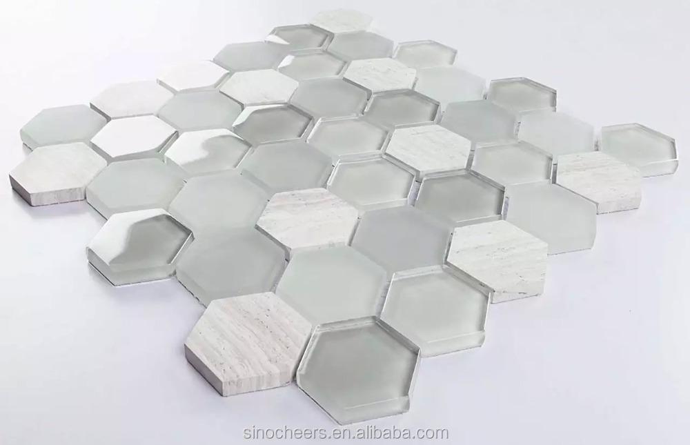 Zeshoek glasmozaïek hoge kwaliteit glasmozaïek wandtegels mozaïek ...