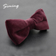 Wholesale custom fashion pure colour maroon polyester velvet bowtie